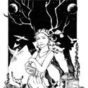 """Dans le conte """"Oiseaux de vie"""", Junie doit devenir une partie de la forêt pour retrouver le Banni. Elle est considérée comme une sorcière parce qu'elle peut réveiller les esprits oiseaux et lever les malédictions. Ses bois n'apparaissent que lorsqu'elle utilise sa magie. *** J'avais absolument besoin de faire un dessin totalement à l'encre de chine. Maintenant, je suis guéris."""
