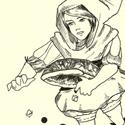 L'ensemble de la série sur les fruits à la fin 2012. Commencée en stage en juillet, je la continuerai au fur et à mesure.  Série à base d'enfants et de fruits (secs y compris), où le but est de reproduire la forme du modèle dans les vêtements et de jouer avec les points noirs.  Dessin 1 : Cerises Dessin 2 : Banane Dessin 3 : Pastèque Dessin 4 : Poire belle Hélène Dessin 5 : Poire Dessin 6 : Fruits des bois et noisette