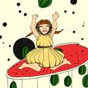 Petit dessin tout simple issu d'une de mes séries de dessins faits au boulot. Le thème : les fruits et les petites filles. Ici, elle joue avec une pastèque.