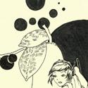 Petit dessin tout simple issu d'une de mes séries de dessins faits au boulot. Le thème : les fruits et les petites filles. Ici, elle n'a pas réussi à attraper le fruit noir.